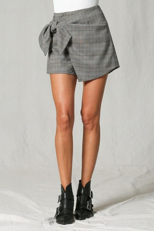 Corine Plaid Bow Tie Mini Skort