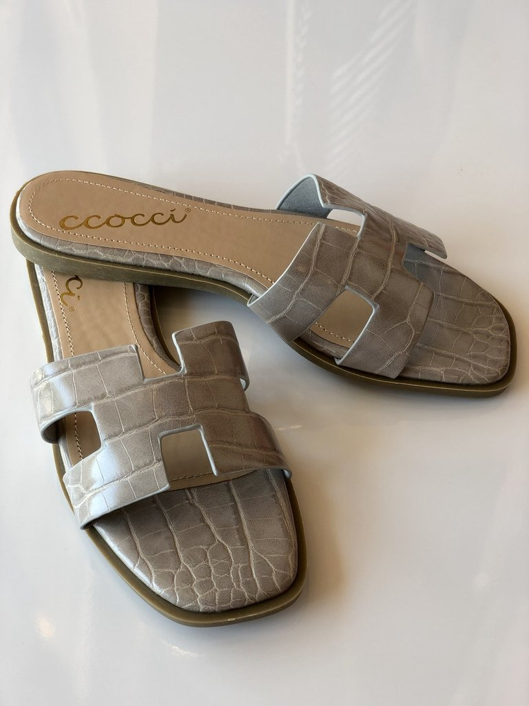 Reagan Croc Slide Sandal - Grey