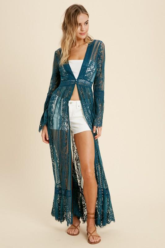 Adrienne Lace Bell Sleeve Kimono - Teal