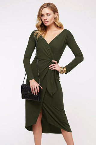 Iris V-Neck Wrap Bodycon Dress - Olive