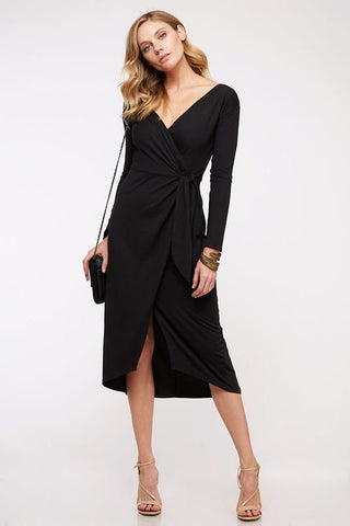 Iris V-Neck Wrap Bodycon Dress - Black