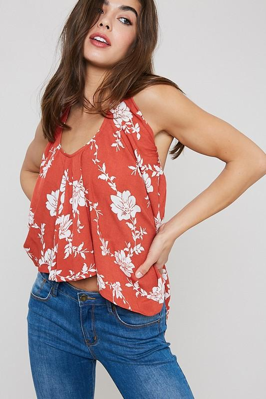 Drew Convertible Halter/Strapless High Low Top - Rust