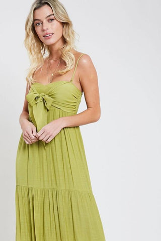 Luisa Tie Front Maxi Dress - Lemon
