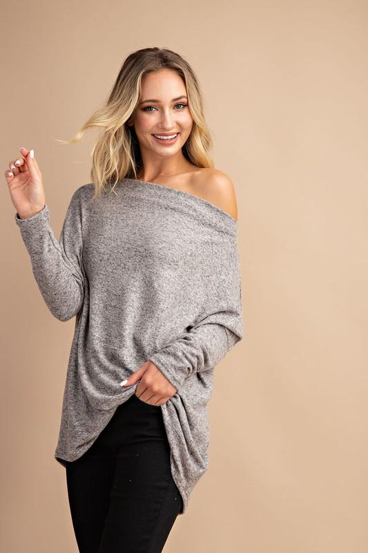 Apryl Long Sleeve Off the Shoulder Sweater Top - Grey