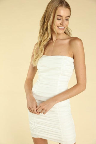 Macie Ruched Strapless Mini Dress
