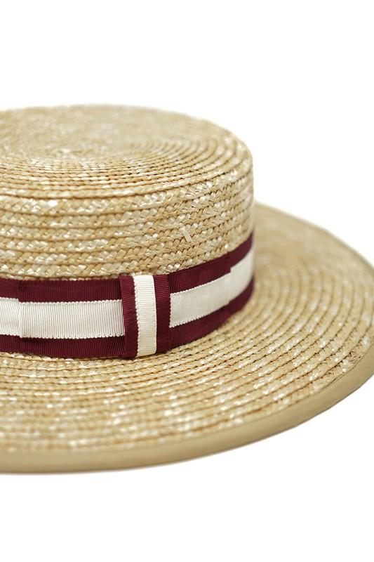 Chrissy Straw Boater Stripe Band Hat