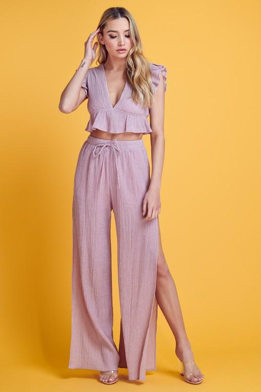 Fabiola Ruffle Crop Top & Slit Pants - Baby Pink