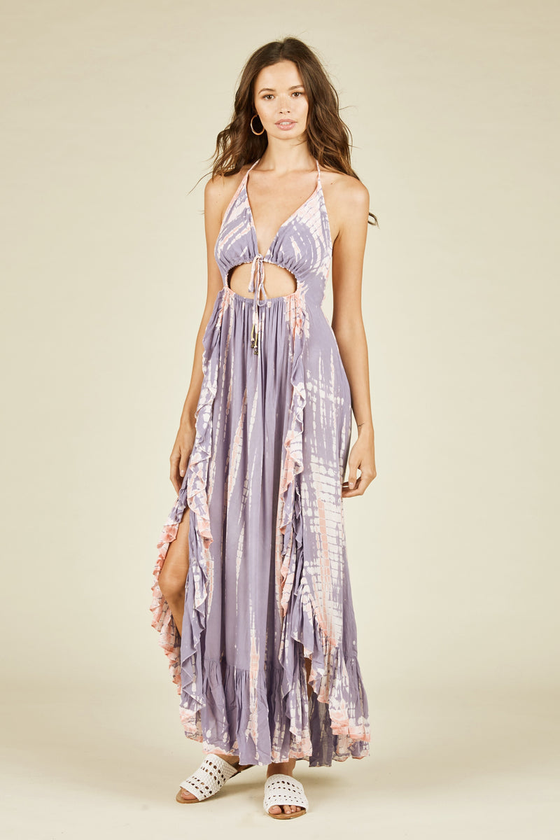Lillibeth Backless Tie Dye Maxi - Purple/Pink