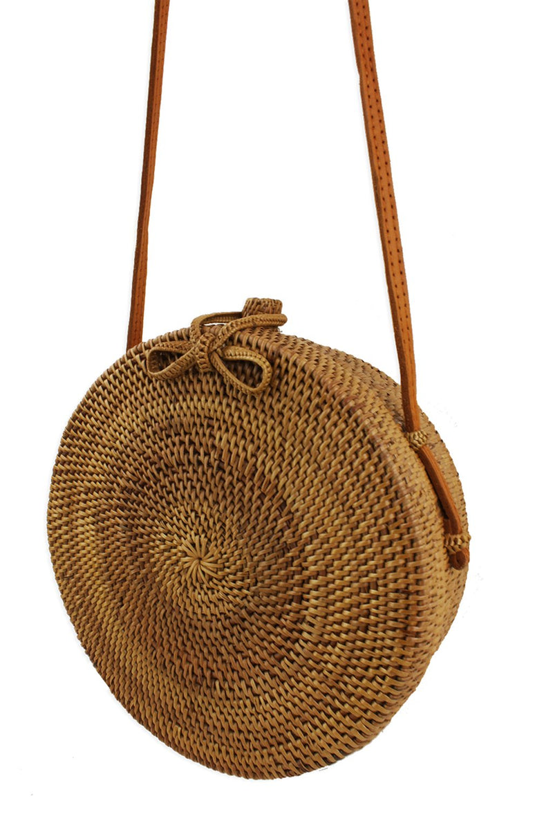 Frieda Round Straw Crossbody Bag