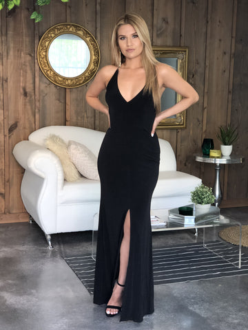 Gabrielle Plunging Bodycon Gown - Black
