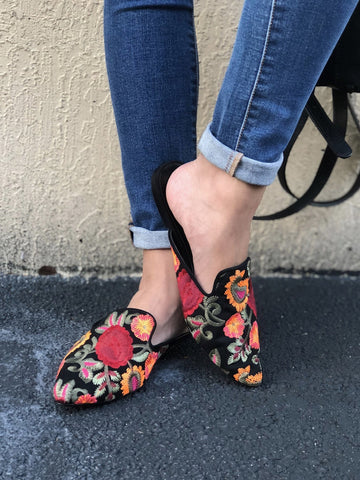 Mia Cameo Embroidered Mule