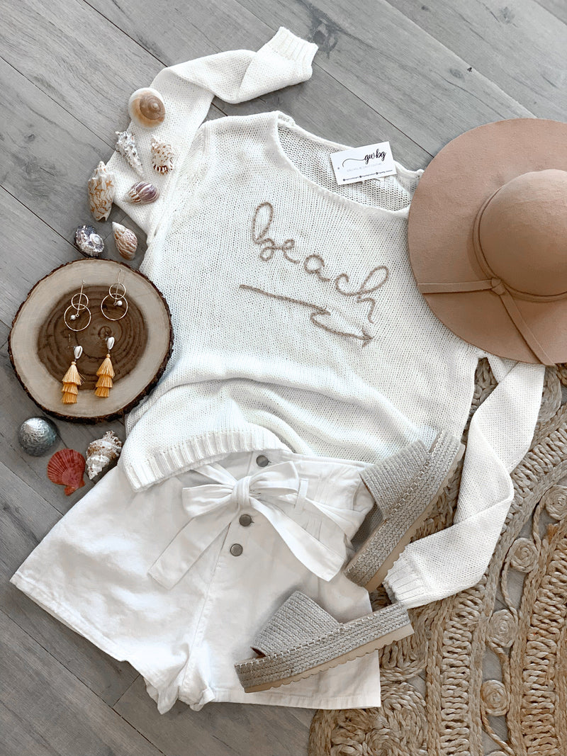 Beach Embroidered Sweater