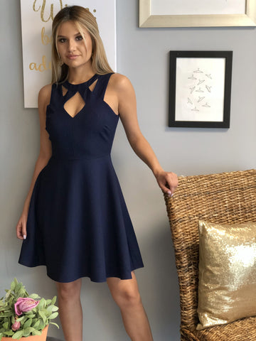 Debbie Textured Fit And Flare Dress - Navy