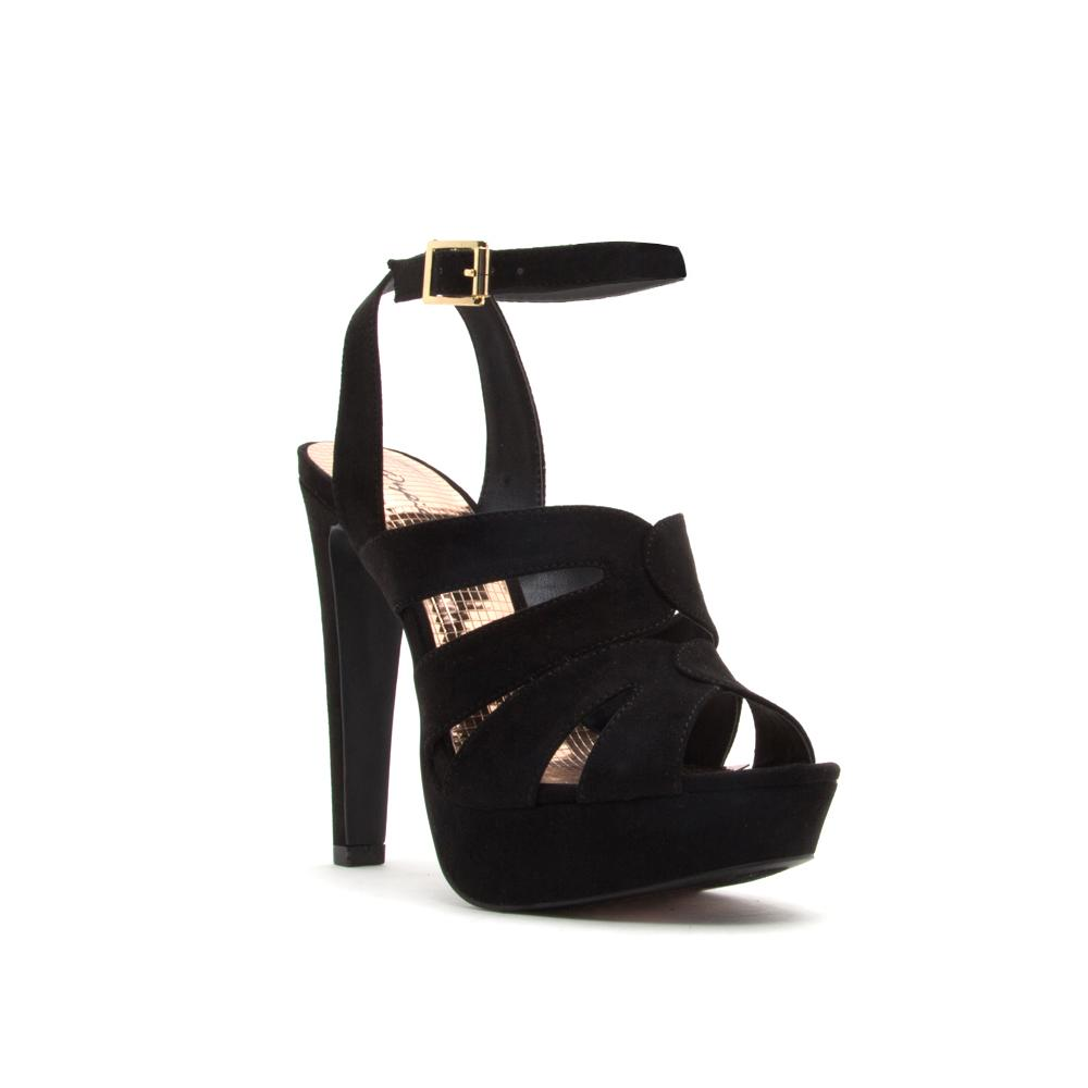 Catness Cut Out Platform Heels - Black