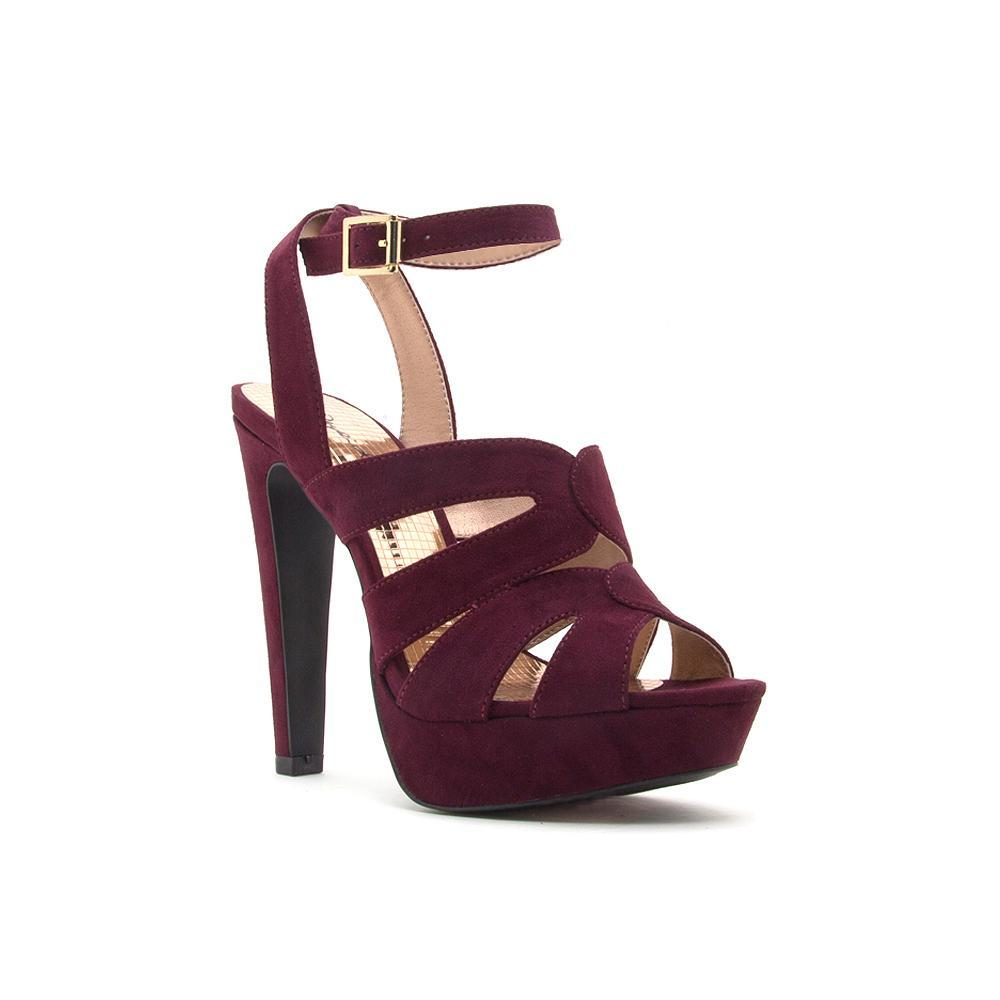 Catness Cut Out Platform Heels - Burgundy