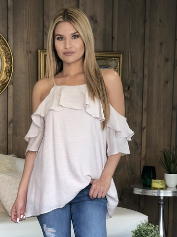 Ive Cold Shoulder Ruffle Top - Champagne