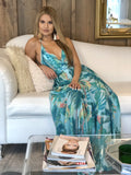 Adalyn Palms Maxi Dress - Turquoise