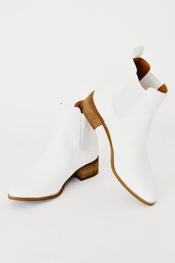 Tahlia Ankle Bootie with Low Wooden Heel - White