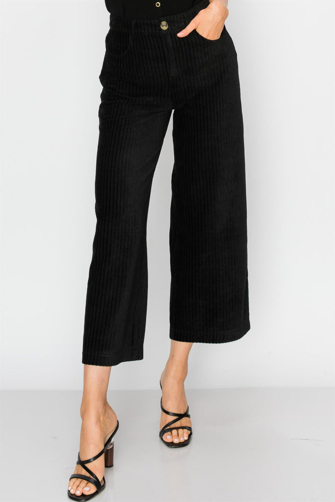 Rachel Corduroy Crop Pants - Black