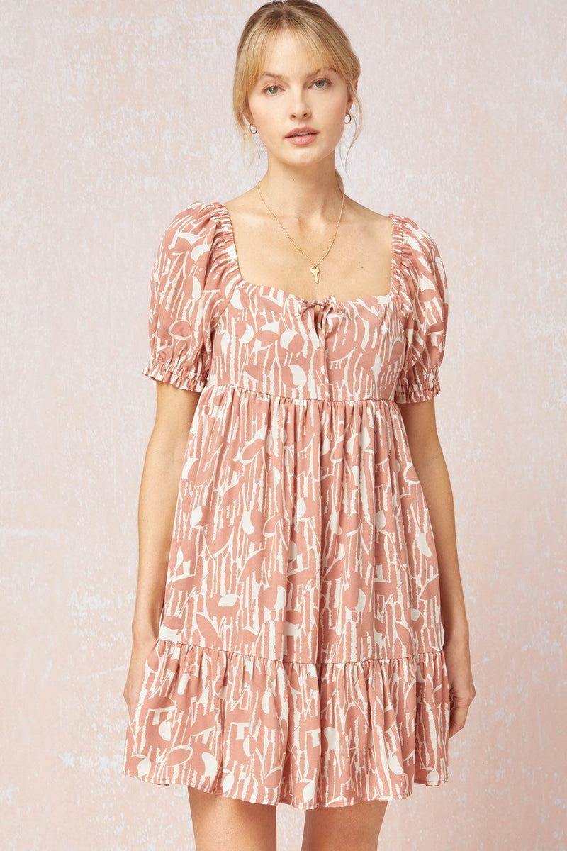 Zadie Square Neck Puff Sleeve Mini Dress