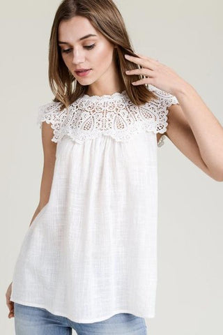 Abbeline Lace Detail Linen Top
