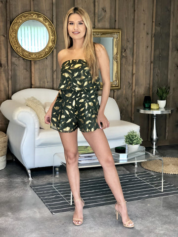 Stephanie Strapless Gold Leaf Romper