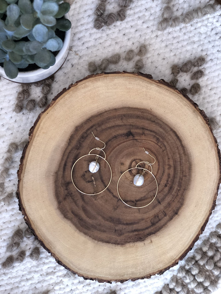 Aliah Mother of Pearl Hoop Earring
