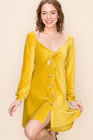 Loreli Corduroy Dress - Mustard