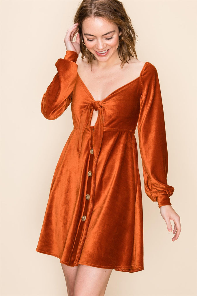 Loreli Corduroy Dress - Rust