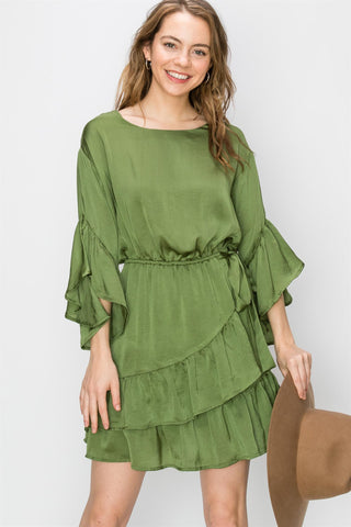 Tina Satin Ruffle dress -Green