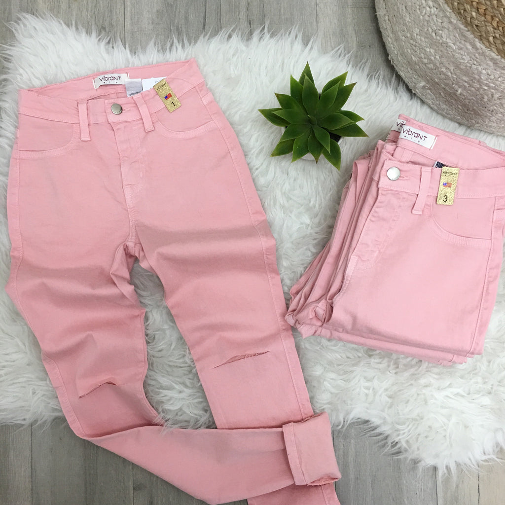 Pink High-waist Slit-Knee Jeans
