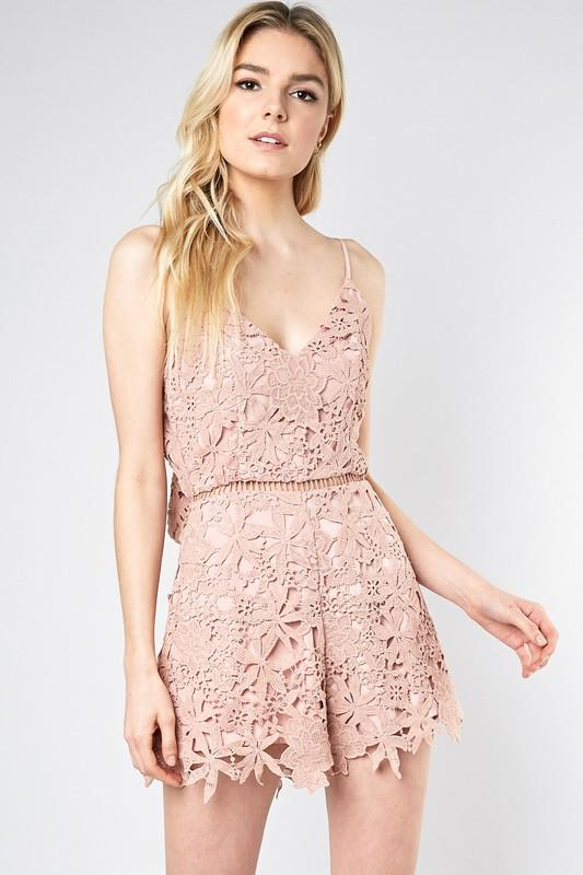 Serena Lace Open Back Romper