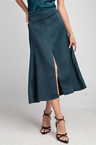 Alanis Midi Satin Slit Skirt