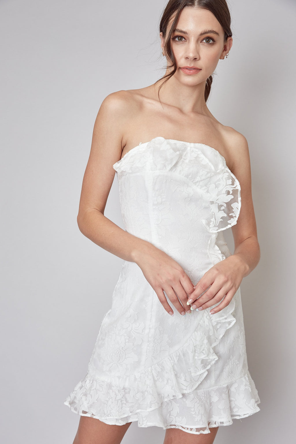 Adelyn Strapless Cascade Ruffle Dress