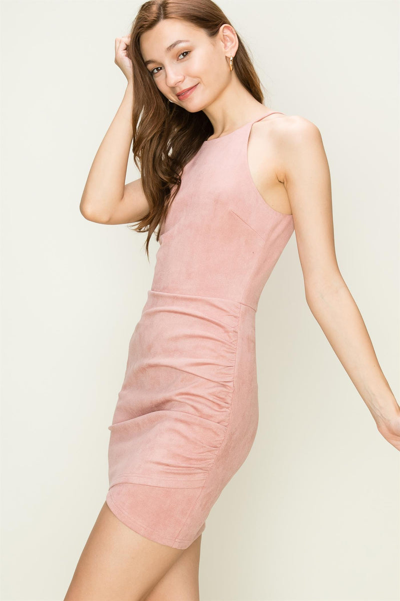 Romy Suede Halter Dress