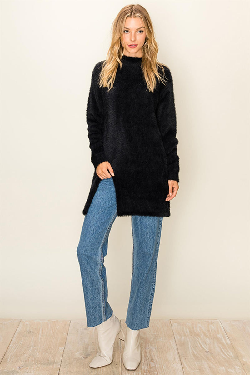 Ezira Sweater Tunic Slit On Side - Black