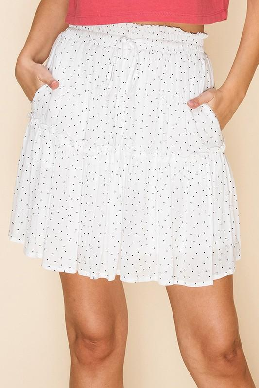 Nadia Polka Dot Tier Ruffle Mini Skirt