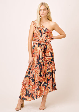 Sabrina One Shoulder Tiered Ruffle Maxi Dress