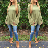 Whitney Bell Sleeve Sweater With Crochet Details - Green