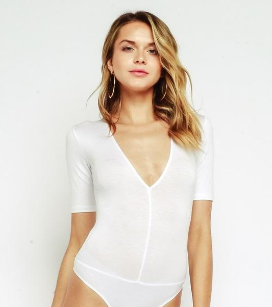 Alicia V Neck Bodysuit - White