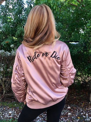 "Bonnie ""Ride Or Die"" Satin Bomber Jacket"