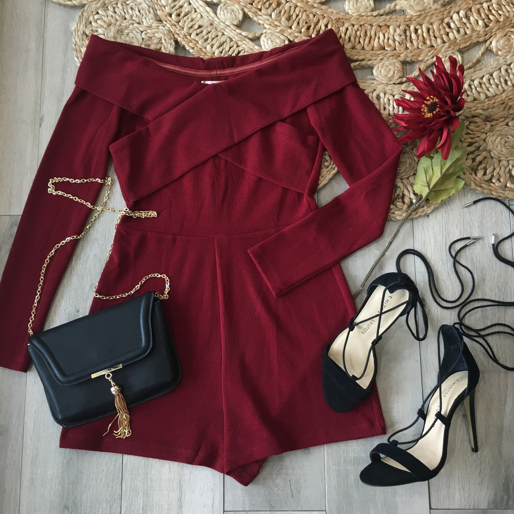 Alice Off Shoulder Romper - Burgundy