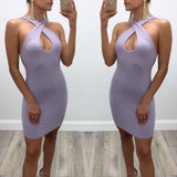 Brianna Crossover-Neckline Keyhole Mini Dress - Lavender
