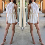 Mandy Halter Open Back Romper - Off White