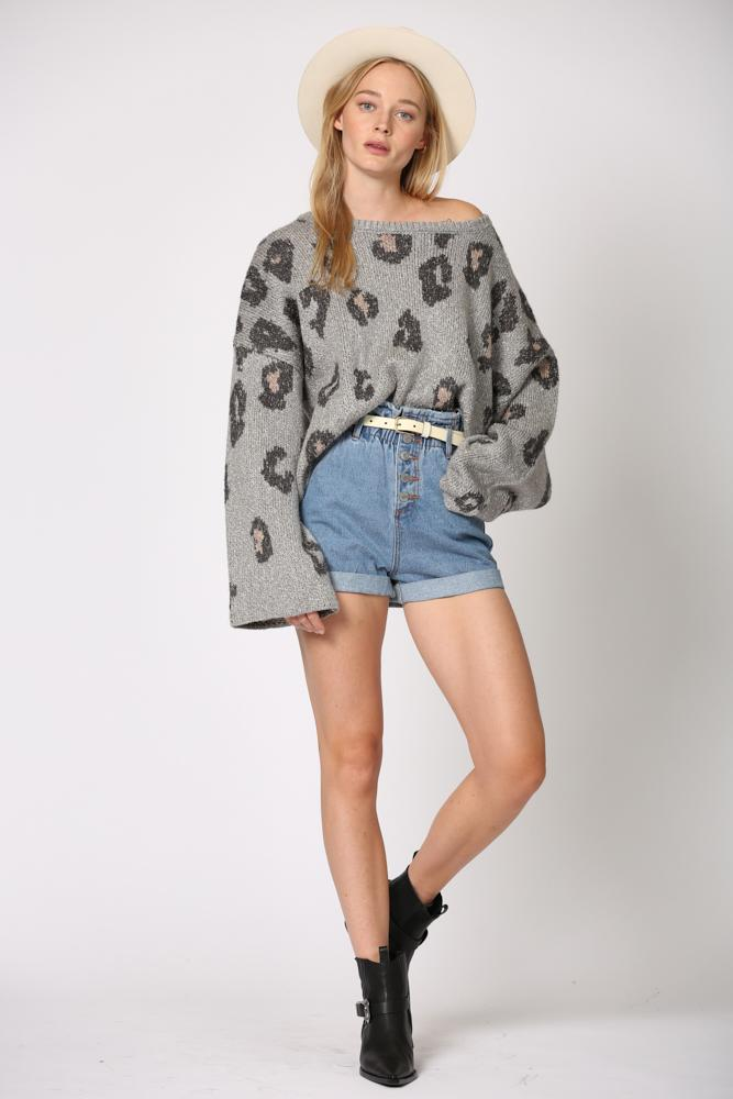 Jene Leopard Crew Neck Sweater