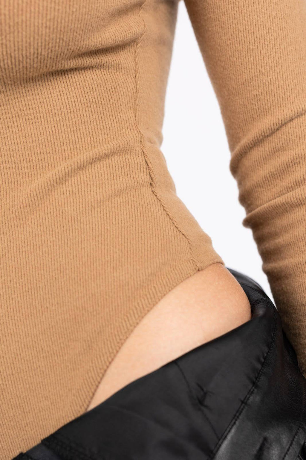 Marline Long Sleeve Ribbed Bodysuit - Taupe