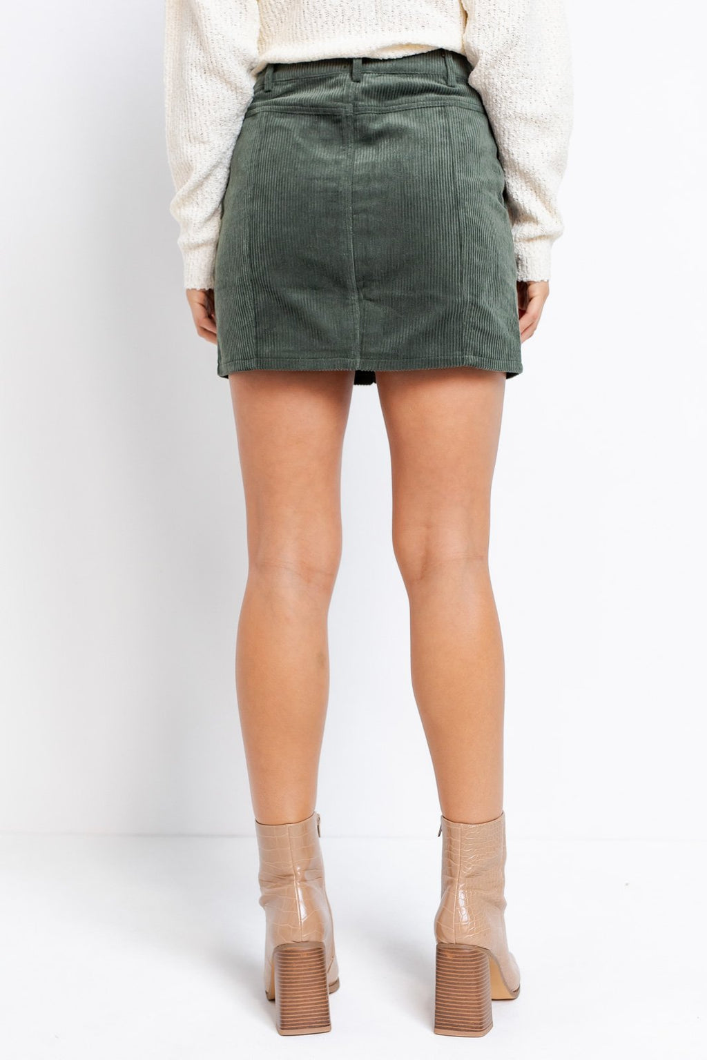 Beverlie Front Zip Corduroy Mini Skirt
