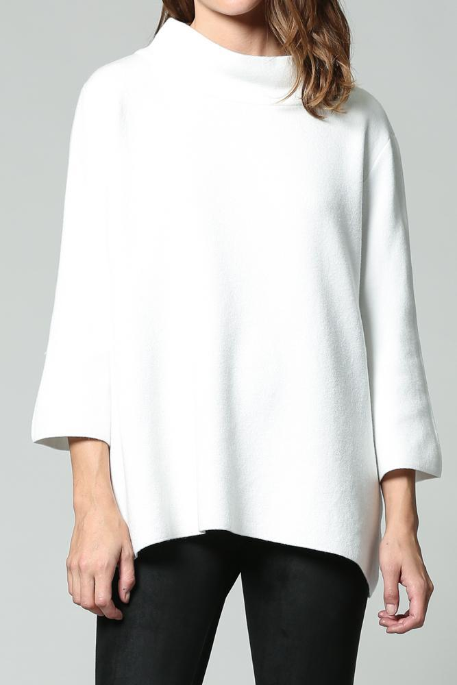 Lipsi Mock Neck Pullover Bell Sleeve Sweater - White