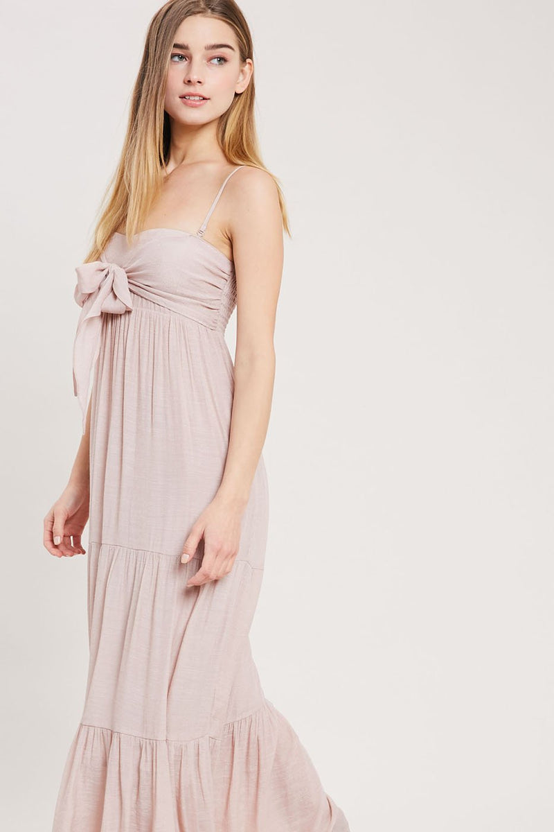 Evo Tie-Front Maxi Dress - Blush