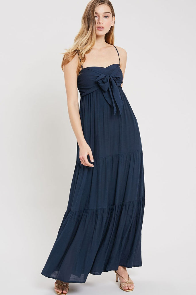 Evo Tie-Front Maxi Dress - Navy